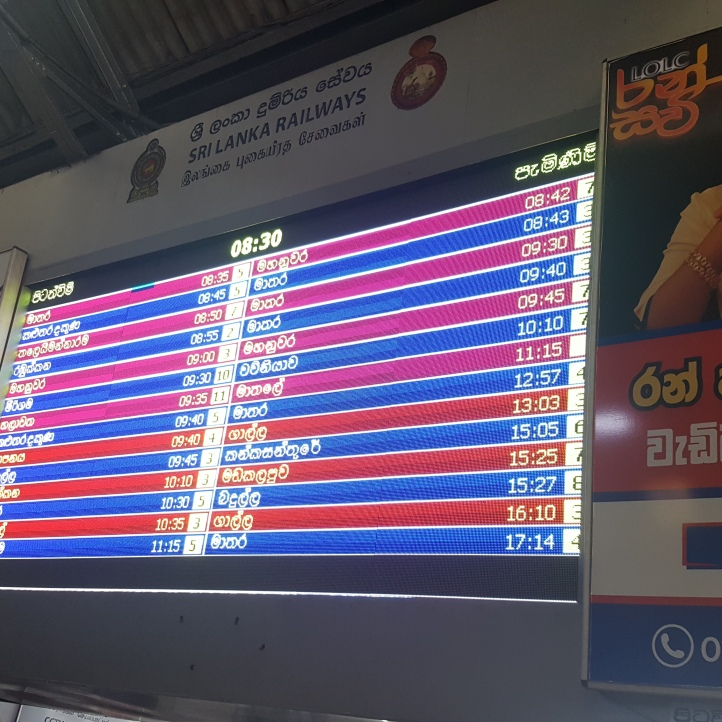Departures board at Colombo station.
