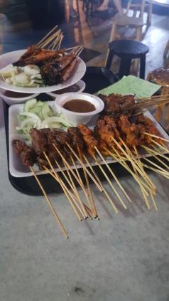 Satay prawns, chicken and pork