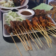 Satay prawns, chicken and pork