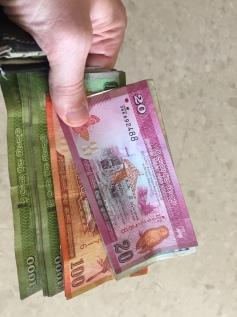 Getting some Sri Lankan Rupees.