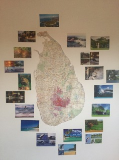 Map of Sri Lanka in the guest house.