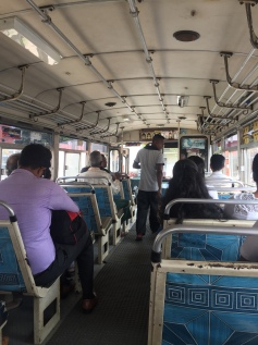 Public bus from our homestay to Fort Galle. A real bargain at 6p each!!