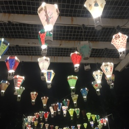 Lanterns made at the light festival lighting the walkway.