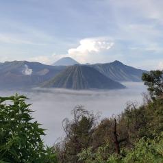 Mount Batok, a majestic green mountain, standing alongside Mount Bromo.