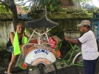 One way to get around the city of Yogyakarta, bicycle rickshaw.