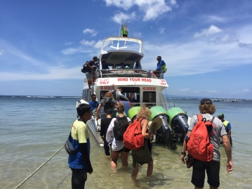 Boat trip over to Nusa Lembongan from Sanur.