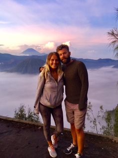 The pink morning skies across Mount Bromo were beautiful.