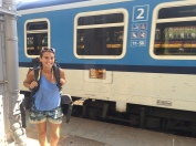 Catching the train from Prague to Budapest.