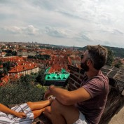 Admiring the stunning rooftops across the city of Prague.
