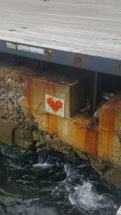 Spotting love hearts around the promenade.