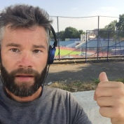 Mark on his morning jog... found a stadium.