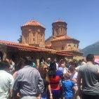 The huge crowds at St Naum.